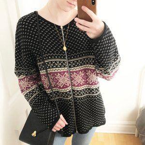 Vintage Fair Isle Knit Patterned Cardigan Sweater